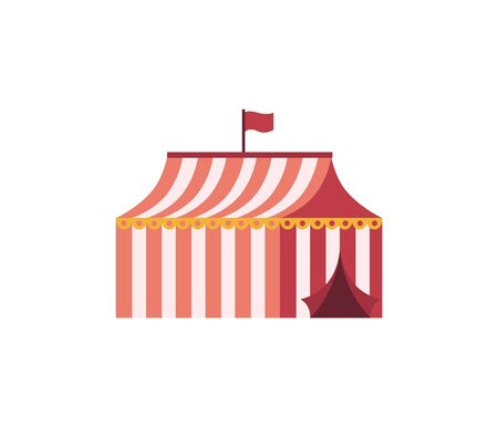 Circus tent in red stripes and flag on top, open building, element of performance, flat design of object. colorful marquee or cirque on white vector