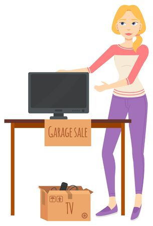 Woman selling goods, garage sale, tv plasma on table and remote in cardboard box. Seller retail unnecessary objects, electronic symbol, advertising vector Illusztráció