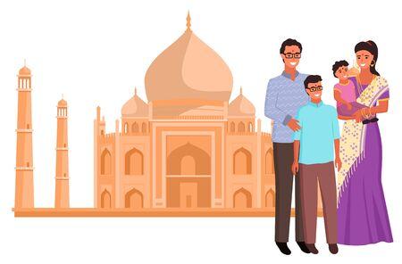 Taj Mahal landmark and indian family, woman wearing saree, people hinduism. Famous historical palace, national costume, religion build, India vector