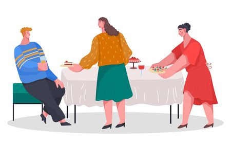 Two women preparing table for dinner. Party celebration with food and drinks, home reception. Friends spending time together. Man and women talking. Vector illustration of banquet in flat style