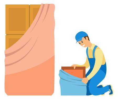 Repairman installing door or locker, furniture banners. Smiling workman in uniform, repair indoor, wooden cupboard, brown entry, home decor vector