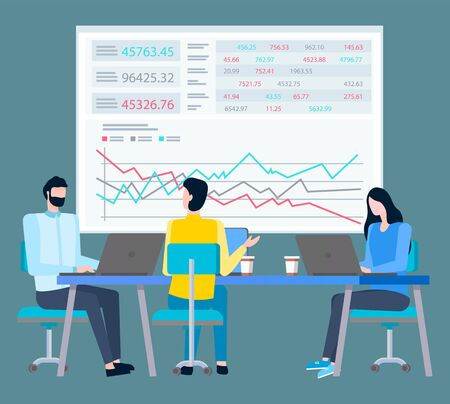Statistics of trades on big screen and cartoon people working on laptops and discussing sales. Vector brokers collaboration and cooperation, financial traders