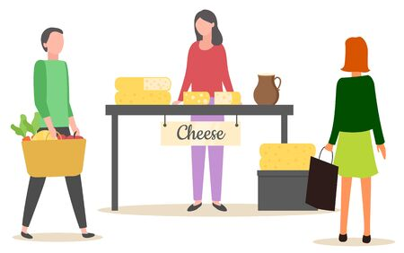 Female seller standing near table with different kinds of cheese. Shoppers buying assortment of milk product, marketplace with dairy food, retail vector