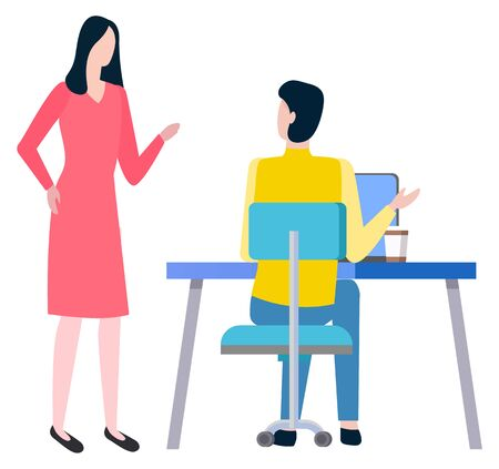Man sitting at work place and woman broker, cooperation and teamwork. Vector cartoon style people business trainers and supervisors. Tutor consultant Vectores