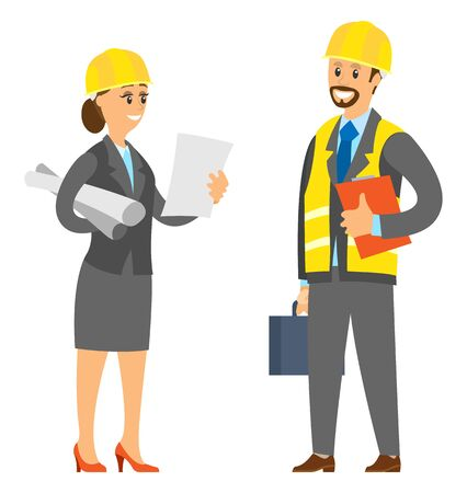 People working together vector, manager boos and employee person wearing helmet and reading plan of construction, scheme and case with instruments