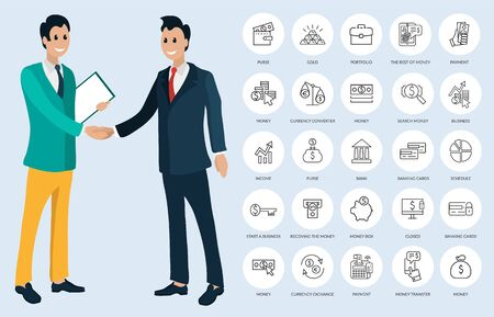 Workers shaking hands, round buttons or links. Purse and gold, portfolio and payment, currency converter and exchange, search and receiving money vector Illusztráció