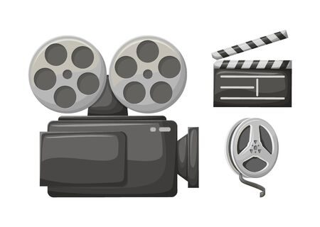 Movie clapper, retro camera filming technology vector, isolated icon of bobbin with tape. Cinematography equipment for making films, old cinema symbols