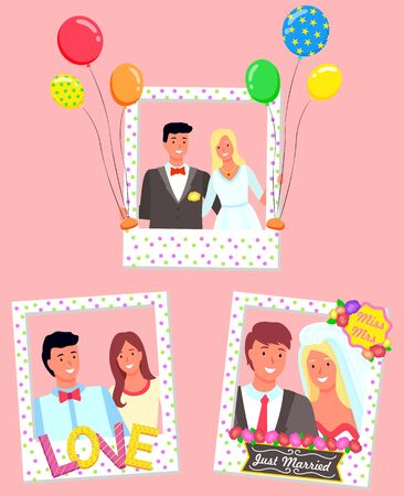 Lovely couple taking photos in photozones vector, isolated set of man and woman with frames and balloon. Just married sign for newlyweds, bride and groom, boyfriend and girlfriend with love letters