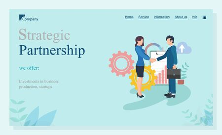 Partnership strategic, offer investments in business, production and startup. Workers shaking hands, company union online, marketing innovation vector. Website or landing page template flat style Illusztráció