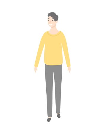 Man in yellow sweater and grey trousers isolated cartoon character. Vector guy in every day apparel, office worker or executive manager in fashionable cloth