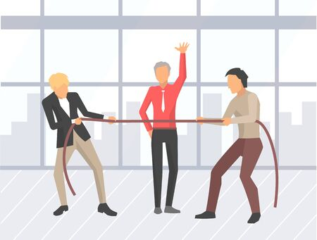 Business competition vector, businessman pulling ropes. People and boss saying to start, competitive spirit of workers in office. Battle of men flat style