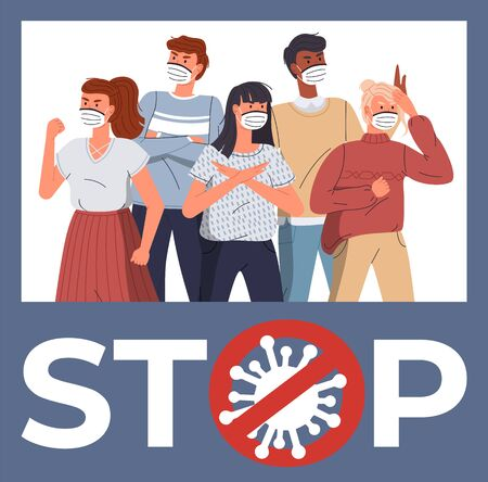 Group of multinational people wearing face medical masks protesting against world epidemic. Banner with cartoon characters in blue flat style. Stop gesture, crossed out sign with virus inside