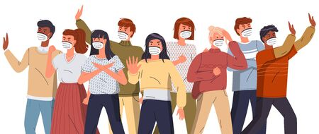 Crowd of mix race people in face medical masks protesting against world epidemic at white background. Group of characters gesturing stop signs to spreading virus. Concept of covid19. Vector banner