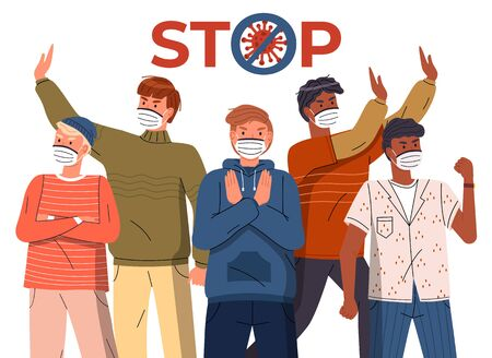 Crowd of multinational guys in face medical masks protesting against world epidemic. Group of characters gesturing stop signs to spreading virus. Concept of covid19. Stop gesture, crossed out sign