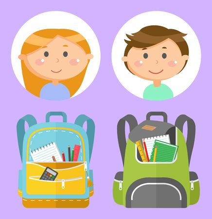 Backpacks or schoolbags with stationery, school children avatars. Rucksacks with books, girls and boys, sticker of smiling pupils or students, classmates and bags. Back to school concept. Flat cartoon