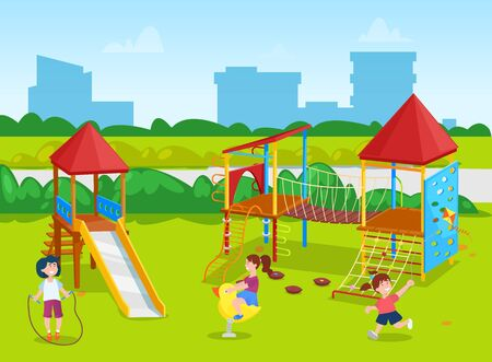 Smiling girl and boy playing on playground, kid with jumping rope. Classmates on playground, skyscraper view from school yard, swing and slide vector