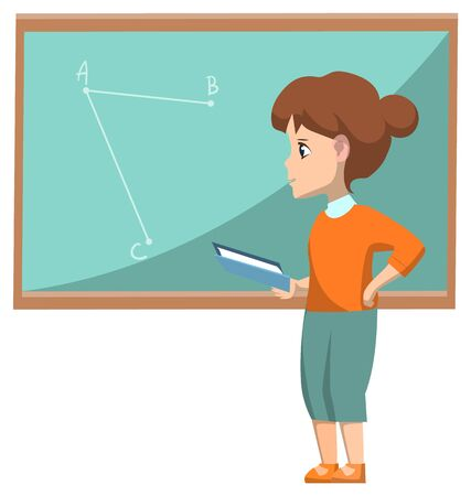Geometry lesson vector, discipline education child with book solving problems. Schoolgirl with printed material textbook learning subject, back to school concept. Flat cartoon