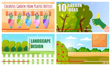 Concept of vector video player interface. Set of video tutorials about garden and landscape design, ideas, colorful garden from plastic bottles. Screensaver of video for vlog or education at distance 일러스트