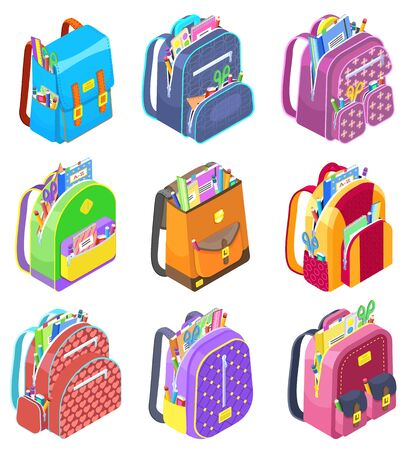 Set of schoolbags for children. Isolated satchel with school supplies. Textbooks and notebooks, ruler and pencils to write. Bags for kids and schoolers. Back to school concept in flat style vector