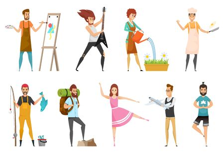 Fisherman and backpackers vector, people hobbies set. Man with guitar, guitarist of metal band, gardening and cooking, yoga dancing and constructing