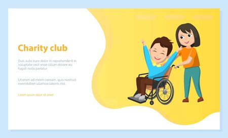 Children charity club, boy and girl happy kids. Schoolboy sitting in wheelchair, disabled character in circle rehabilitation style, back to school concept. Vector illustration in flat cartoon style
