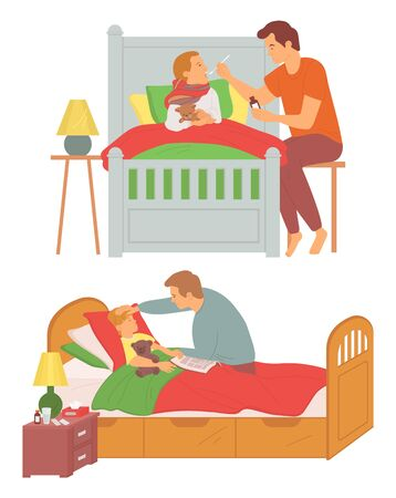Daddy with sick child vector, father caring for ill kid laying in bed, son having temperature, influenza treatment, parenting medicine and pills on table