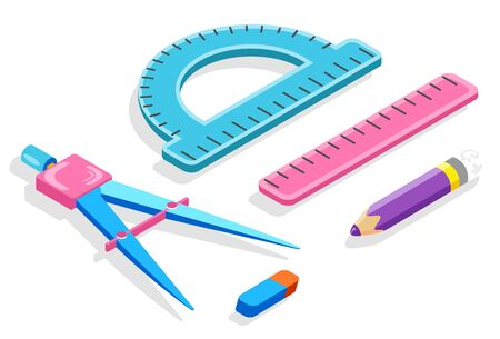 School stationery supplies, ruler and divider, pencil and eraser, protractor isolated objects vector. Geometry lesson and drawing or measuring tools. Back to school concept. Flat cartoon Illustration