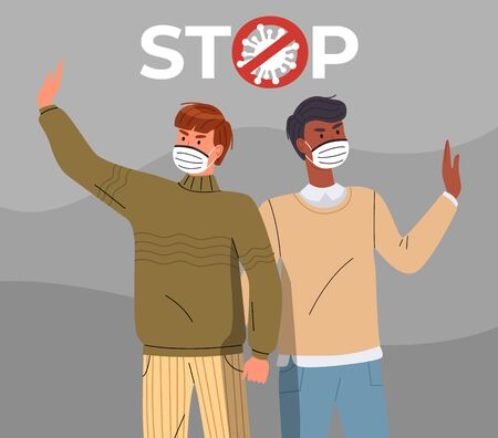 Two young mix race men wearing face medical masks call to stop spreading virus. People show a stop gestures, attention to world pandemic. Concept of covid19. Cartoon vector characters in flat style