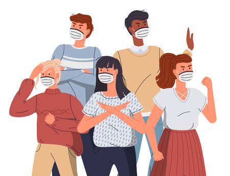 Mix race people wear face medical masks protesting against spreading virus. Women and men calling to fight with virus. Attention to world virus pandemic. Cartoon vector characters at white background