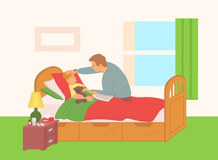 Fathers are in childrens room by sick son, dad sits by small child laying on bed, ill temperature, little boy with plush soft bear toy in his arm, concept for Father day