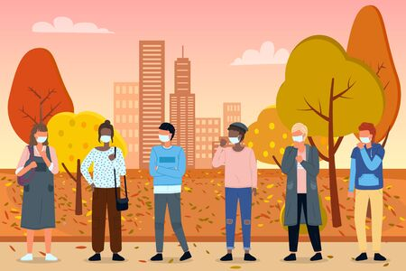 Group of young multiracial people in medical masks at background of autumn city park. Concept of viral epidemic. Set of characters in protection masks at distance. Vector illustration in flat style