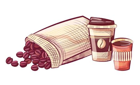 Coffee in disposable cup with lid, beans in sack. Sketch of caffeine beverage and grains in bag, mocha drink in plastic dishware, takeaway container vector Illustration