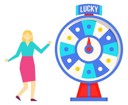 Lucky roulette vector illustration. Blonde woman spinning wheel of fortune. Entertainment for risky and venture some people. Online casino concept