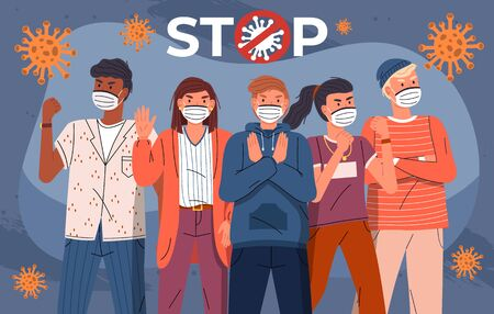 Group of multinational men and women protesting against world epidemic. Concept of coronavirus spreading. People show stop gesture and protesting against virus, crossed out sign, flying bacterias