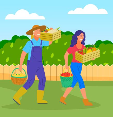 Woman and man farmers with harvest in boxes and baskets. Girl with box of vegetables and bucket of apples. Man holding wooden box of crop and basket with pears. Agricultural worker with fresh products