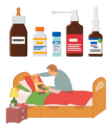Sick child laying in bed vector, set of medicine and pharmacological ingredients for treatment of disease, father and kid, parenting and flu care
