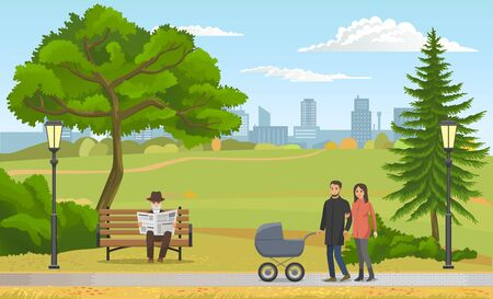 Happy young family with a baby in stroller walking in park concept flat vector illustration. Young parents on a walk in autumn. People are warmly dressed, dad rolls a stroller, mom holds his hand