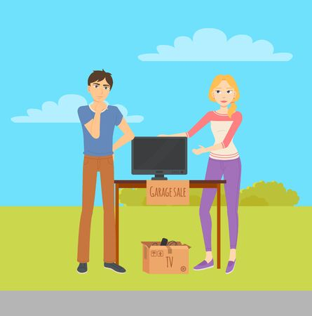 Young man and woman selling TV monitor at garage sale. Used house appliances in cardboard boxes on wooden table. Flea market concept vector illustration 向量圖像
