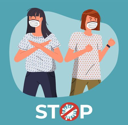 Two caucasian woman in face medical masks protesting against coronavirus. People in call to stop spreading epidemy, show stop gesture and protesting against covid-19. Crossed out sign with virus