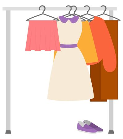 Wardrobe sale, clothes hanger, skirt and dress, sweater and trousers, shoes sell. Second hand store, retail of woman garment, shopping element vector