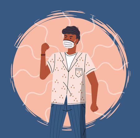 Portrait of vector cartoon black man in face medical mask call to fight with virus at colorful vector elements background. Concept of world epidemic. Young man protect from virus with respiratory mask