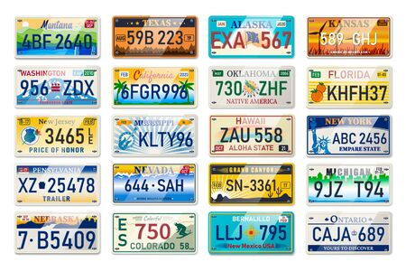 Auto plate and car numbers set of vehicle registration in USA states. Car plates. Vehicle license numbers of different American states. Metal sign boards automobile plates with digits and letters Illusztráció