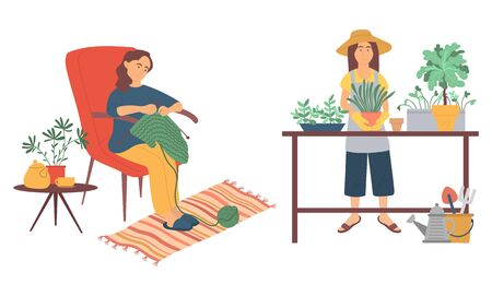 Woman sitting on chair and knitting, female wearing gloves and apron planting, flowers in pot. People hobby, agricultural and homemade work vector 일러스트
