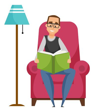 Man reading book, leisure or hobby of person. Smiling male character wearing glasses sitting on armchair near lamp, holding literature, relaxation vector 일러스트
