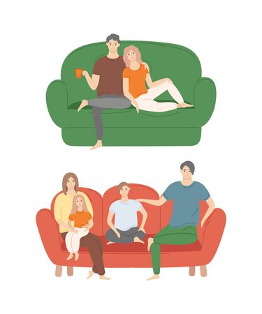 People at home spending time together vector, man and woman on sofa couple relaxing. Family consisting of father, mother and children on furniture  イラスト・ベクター素材