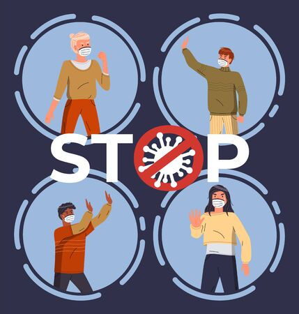 Set of illustrations with cartoon characters wearing face medical masks. Concept of world epidemic. Woman and men wearing medical masks gesturing stop sign of spreading virus. Flat style illustration