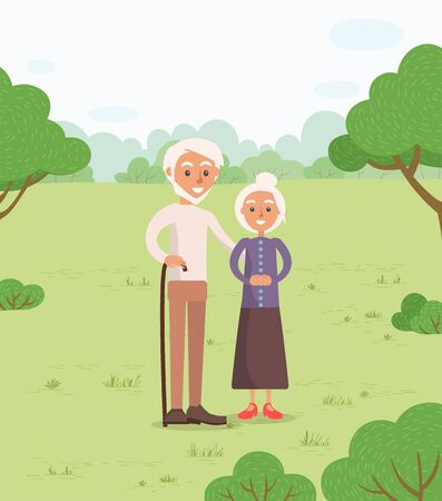 Senior couple in park vector, man and woman old age of characters. Grandmother and grandfather walking in forest with wooden stick, active pensioners 矢量图像