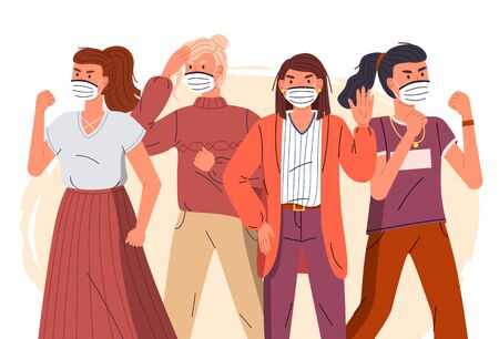 Group of young girls wear face medical masks protesting against spreading virus. Women calling to fight with virus. Attention to world virus pandemic. Cartoon vector characters at flat background