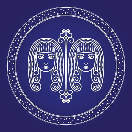 Gemini astrology zodiac horoscope in shiny round shape isolated on blue color. Twins girls characters constellation element in starry white circle. Astronomy science symbol ancient calendar vector Ilustrace