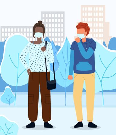 Red-haired man and afro american woman wearing medical masks at city background. Man coughing. Concept of viral epidemic. People in protection masks. Illustration in flat style with cartoon characters Ilustração